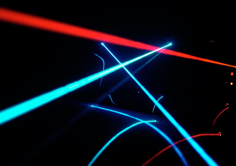 Haz de lasers de colores