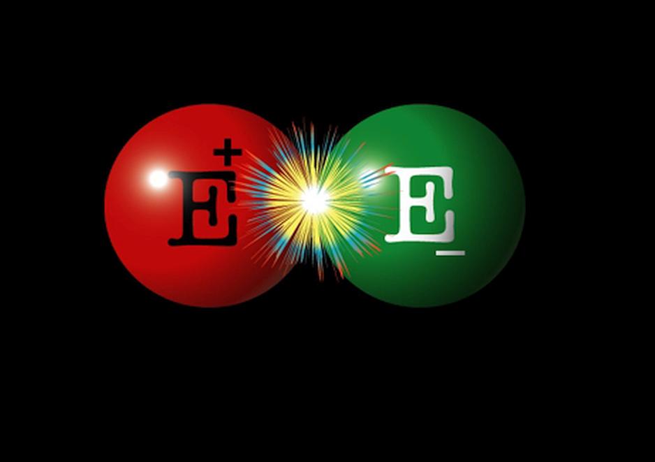Representacion de electron y positron para representar la materia y la antimateria