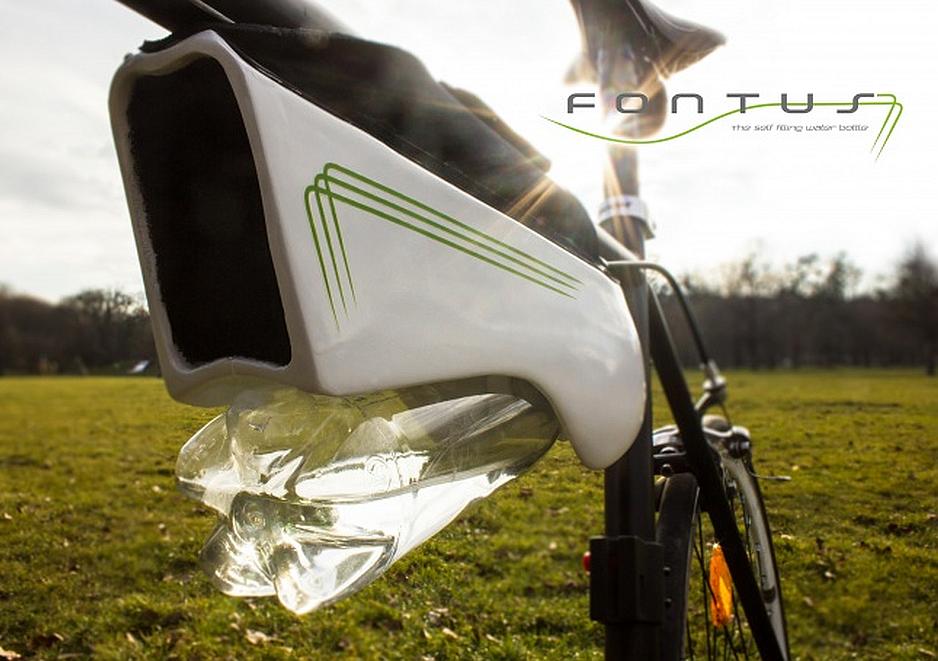 Fontus llena tu botella de agua mientras pedaleas