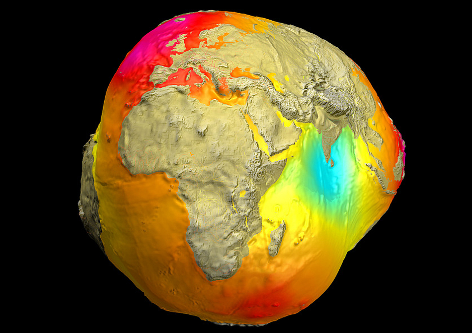 Mapa de gravedad de la tierra