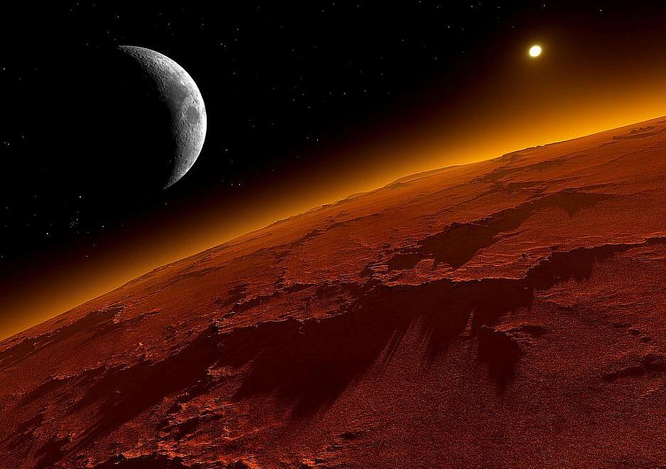 Marte y una de sus lunas