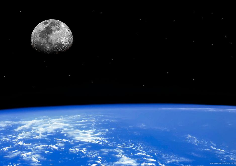 La luna vista desde el espacio