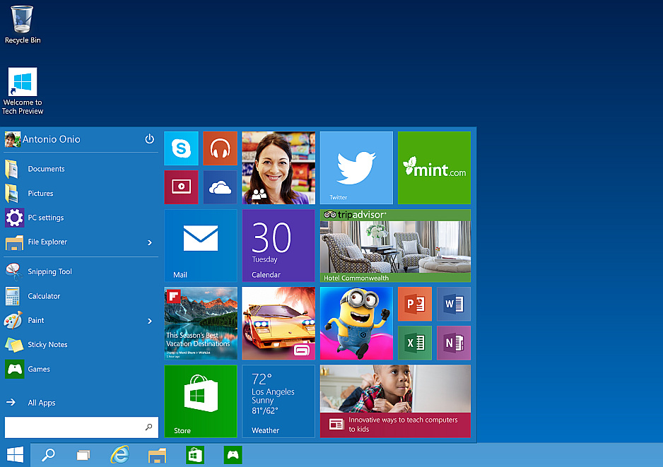 Menu inicio de Windows 10