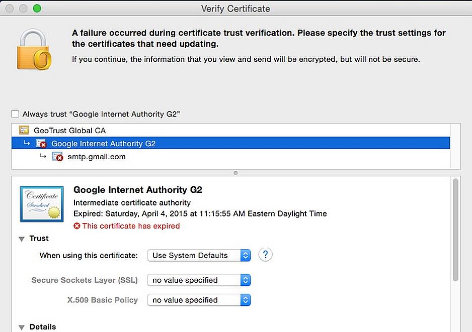 Google olvidó actualizar su certificado SMTP y expiró