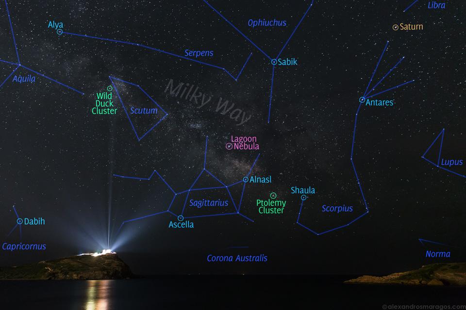 La Vía Láctea sobre el Templo de Poseidon