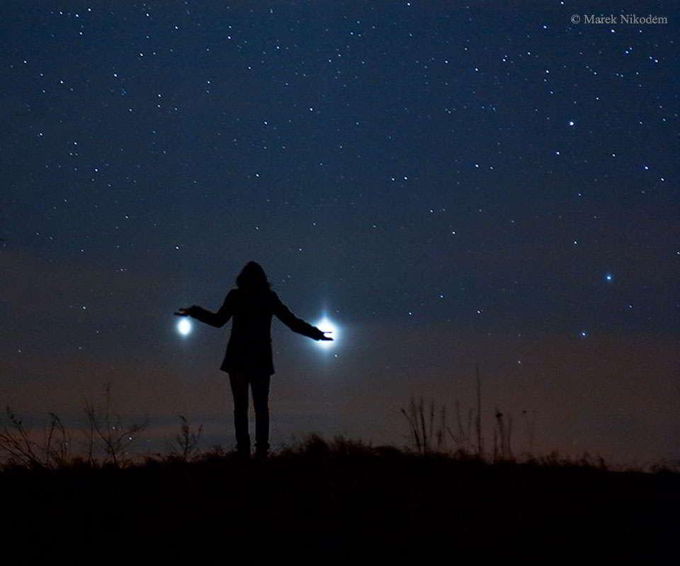 Jupiter y Venus desde la Tierra