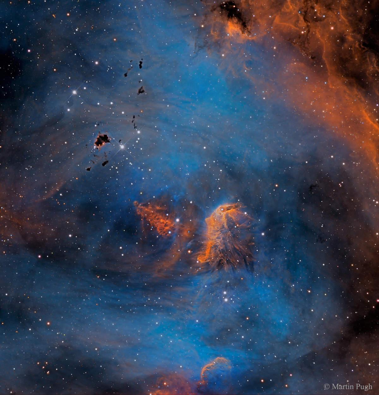 Estrellas y glóbulos en la nebulosa del Pollo Corredor