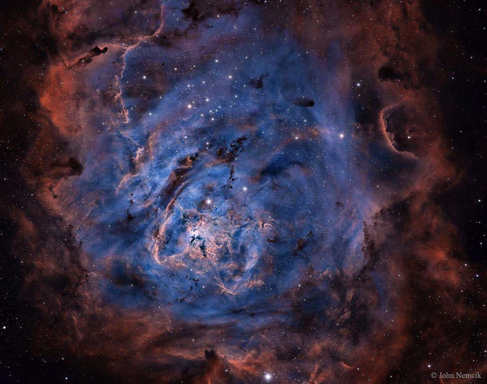 La nebulosa de la Laguna en hidrógeno, azufre y oxígeno