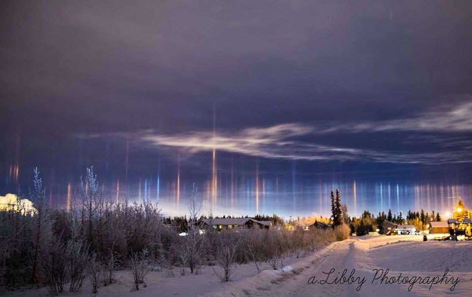 Pilares de luz sobre Alaska