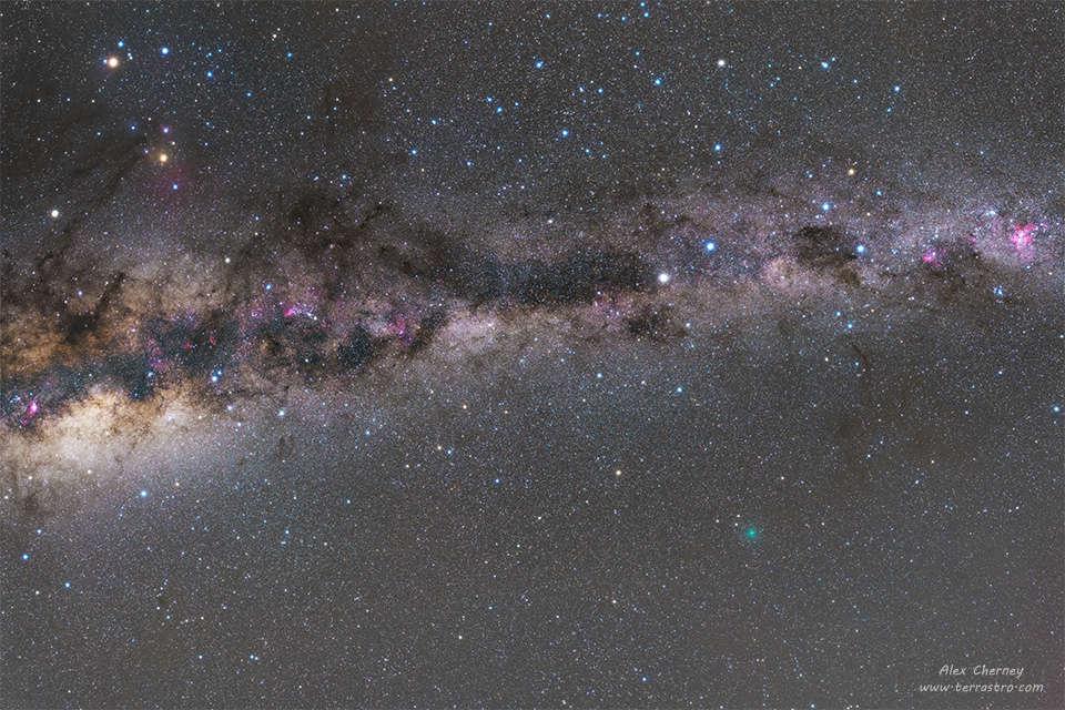 La Vía Láctea y un cometa cercano
